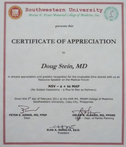 Certificate of appreciation resource speaker gallery certificate 2011 vasectomy mission day 5 following acceptance of certificates of appreciation yadclub gallery yadclub Choice Image